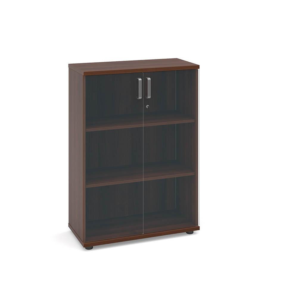 Virtu Low Cupboard With Glass Doors American Walnut